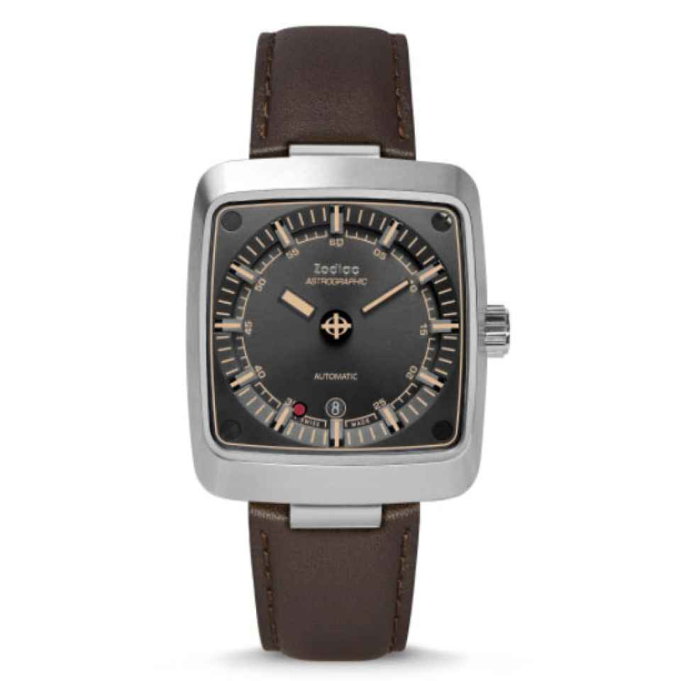 ZODIAC - OROLOGIO ASTROGRAPHIC AUTOMATIC BROWN LEATHER WATCH