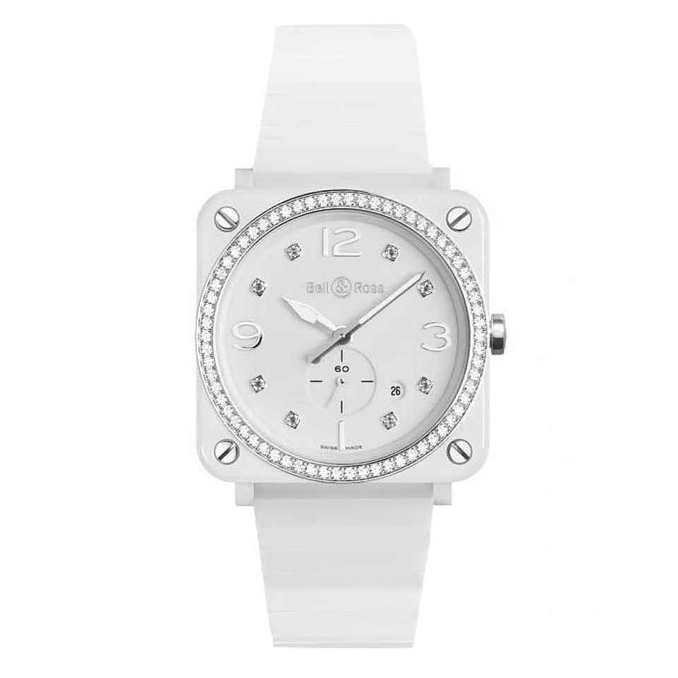 BELL & ROSS - OROLOGIO WHITE CERAMIC DIAMOND BRS-64-CSWH LADY